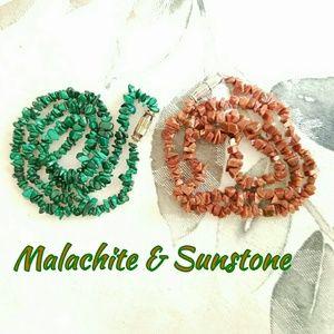 2 Stone Necklaces Malachite Sunstone